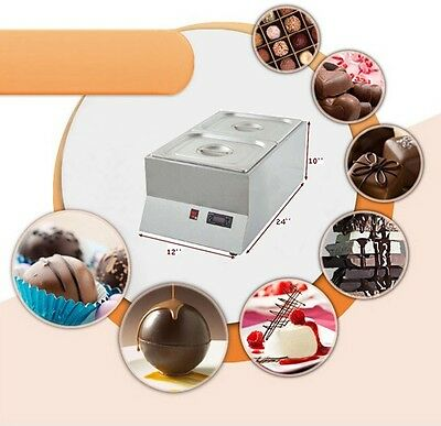 220V 2 Pan Well Bain Marie Chocolate Tempering Melter Dry Heating