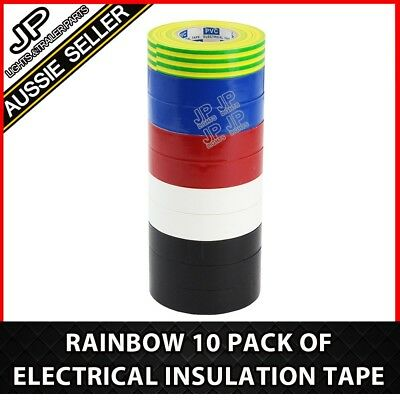 Rainbow 10 Pack Of Electrical Electric Insulation Tape Electricians Tools
