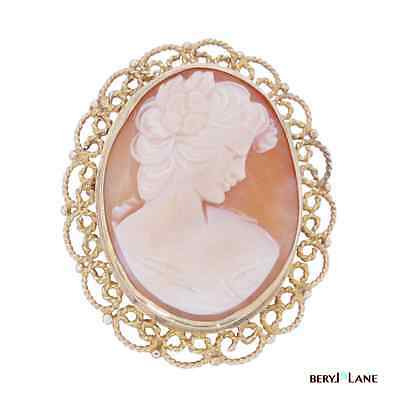 Vintage Pretty 9k 9ct Gold Filigree Shell Cameo Brooch or Pendant, 30mm x 23mm