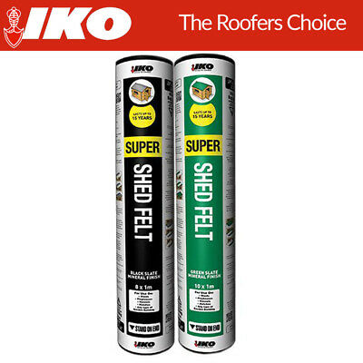 IKO Super Shed Roofing Felt + Adhesive   Polyester   Green & Black 8m x 1m