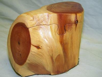 Three - Piece Handmade Cedar Puzzle Box, Trinket / Hide-a-way