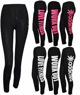 New Womens Ladies Girls Workout Dope Style Jersey Gym Leggings Size S/M M/L