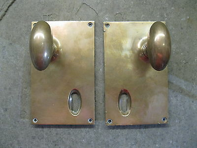 Pair Original Reclaimed Brass Copper/Bronze Goose Egg knobs fixed bplates 0149