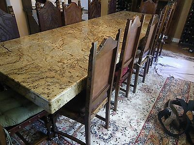 VINTAGE 1800s DINING ROOM TABLE WITH 12 ANTIQUE CHAIRS