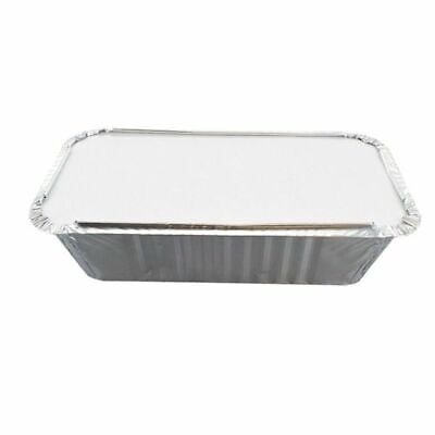 50 x Aluminium Foil Containers & Lids Size 6A Trays Tray Takeaway Silver Chinese