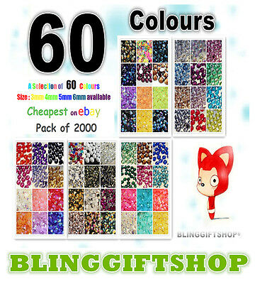 60 COLOURS 2000 x RESIN FLAT BACK RHINESTONES DIAMANTE NAIL ART CRAFT GEMS 3-6MM