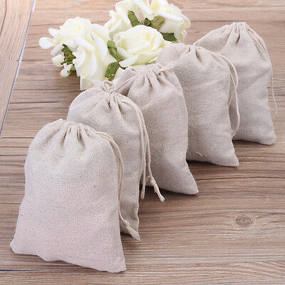 2~15X Cotton Linen Drawstring Sack Bag Jewelry Bags Wedding Party Candy Gift Bag