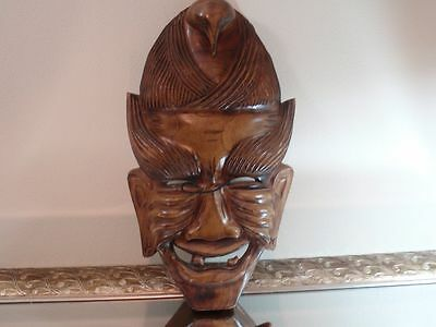 Japanese Wood Carving Theater Large Rare Kabuki Mask Decorative