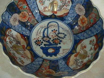 Fine Antique Japanese Imari Porcelain Bowl Scalloped Rimmed Meiji Period