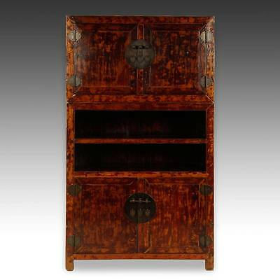 Fine Antique Chinese Shanxi Lacquered Elm Wood Book Case Cabinet China 19Th C