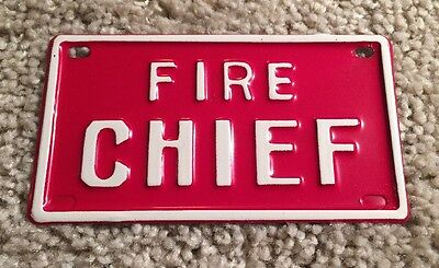 VINTAGE Fire Chief BICYCLE METAL PERSONALIZED LICENSE PLATE