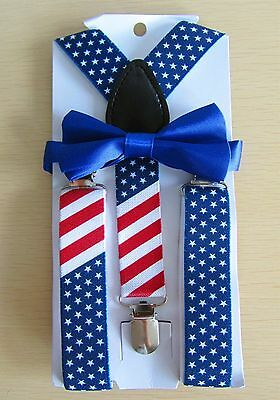 Kids Boys Girls  Flag Clip-on Suspender and Bow Tie Sets - Ship from US