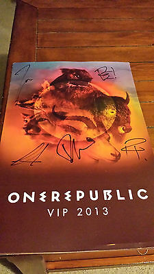 One Republic Signed Native VIP Poster ALL Members Autograph Auto NM Condition