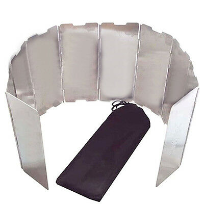 Lightweight Foldable Camping Stove Windscreen 10x Panel Wind Shield W/ Cloth Bag