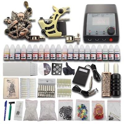 Complete Starter Tattoo Kit 2 Gun Machine Power Supply Set 20 Color Ink Needle J
