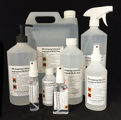 ISOPROPYL ALCOHOL 99.9% PURE IPA ISOPROPANOL - Various Sizes 30mL to 25 Litres