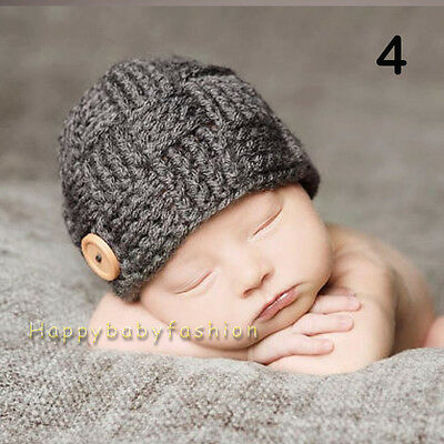 Baby Photo Props Boy Crochet Knitted Grey Beanie 0-3, 3-6 Months Handmade