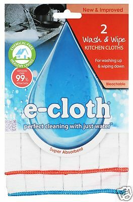 e-cloth 2 Anti-bacterial Wash & Wipe Washing Up Wiping Down Kitchen Cloths WWC