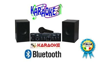 Kit Audio E Karaoke 120 Watt Rms+2 Casse Audio+2 Microfoni+Software Vanbasco