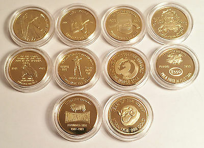 New Set of 10 x 1/10th oz HGE 999 Gold Australiana Coins, Ned Kelly, Gallipoli.