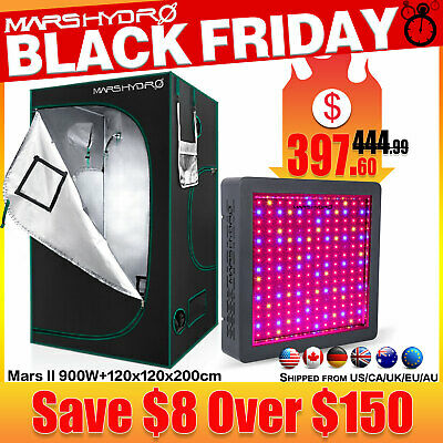 "Mars II 900W LED Grow Light+48""x48""x78"" Hydroponic Grow Tent Reflective Mylar"