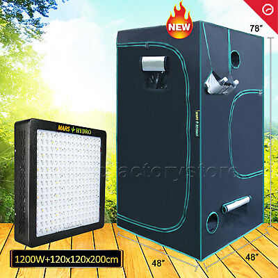 "1200W Led Grow Light Veg Flower Plant Lamp+48""x48""x78"" Indoor Grow Tent Kit"