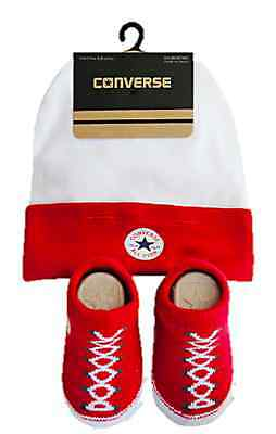 Converse Baby All Star Knit Booties And Hat 2 Piece Set Red