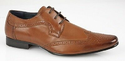 Mens Brouge London Tan Smart Wedding Shoes Faux Leather Formal Office Work Dress