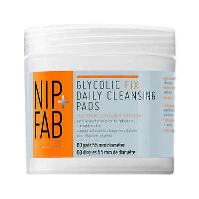 Nip + Fab Glycolic Fix Exfoliating Facial Pads 60s Brightening Scrub Peel Polish