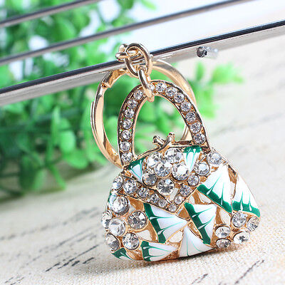 New Fashion Lady Handbag Flower Pendant Crystal Key Ring Keychain Creative Gift