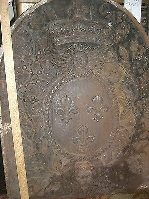 "ANTIQUE FIREPLACE   iron PANEL   Fireback Crown France  Fleur   ""Sun King."""