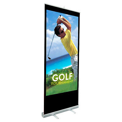 """Retractable Roll Up Banner Stand (33"""" W x 79"""" H) Stand Only For Trade Shows"""