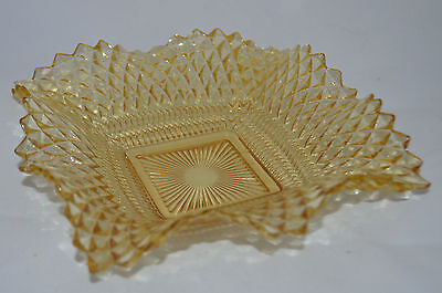 Indiana Amber Glass Diamond Point Square Ruffled Candy Nut Snack Dish Trinket