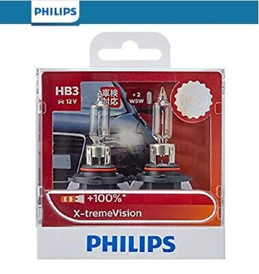 Philips HB3 Xtreme Vision Bulb Headlight Globes 100% More Light +35m Longer Beam