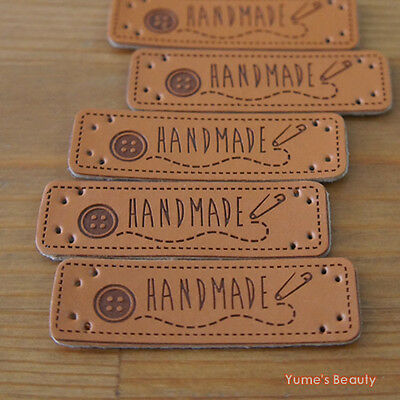"""5 / 20pcs: Synthetic PU Leather Labels/""""HANDMADE"""" & Button Pin/ Sewing Craft DIY"""