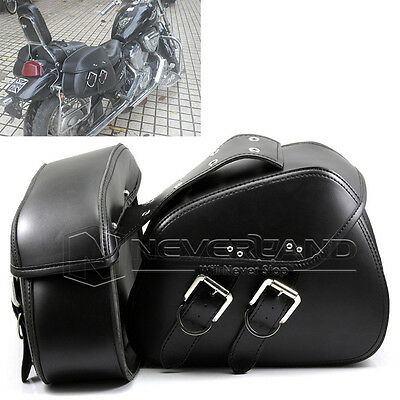 Motorcycle Universal For Harley Leather Saddle Bag Sissy Luggage Cruiser Pannier