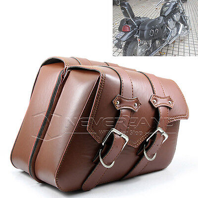 Brown Motorbike Motorcycle Luggage Saddle Bag For Harley Sportster XL 883 1200