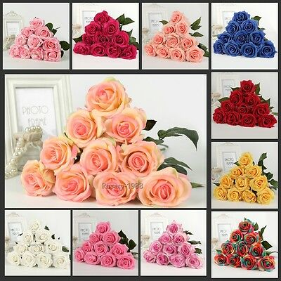 12 Heads Latex Real Touch Rose 7CM Flowers Bouquet wedding Home Decor Favoes