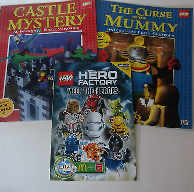 Lego BOOK Lot/ Set Hero factory Curse of the Mummy & Castle Mystery dragons