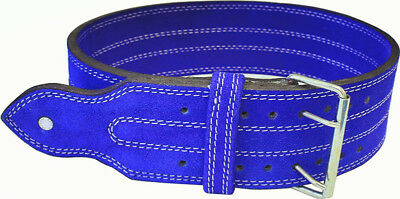 "Ader Leather Power Weight Lifting Belt- 4"" Blue"