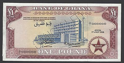 Ghana One Pound 1-7-1958 P2as Specimen Perforated