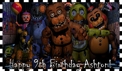 1/2 SHEET Five 5 Nights at FREDDY's Edible CAKE Topper ICING Image FNAF Friday