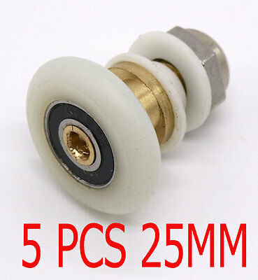 5x Partiality Shower Door ROLLERS /Runners/Wheels/Pulleys diameter 25mm
