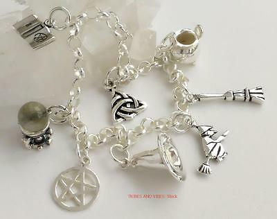 Pagan Witch Charms Bracelet 925 Sterling Silver 19cm wicca pentacle Jewellery