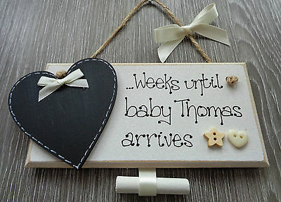 Personalised New Baby Countdown Chalkboard Plaque Gift Pregnancy Baby Shower PL