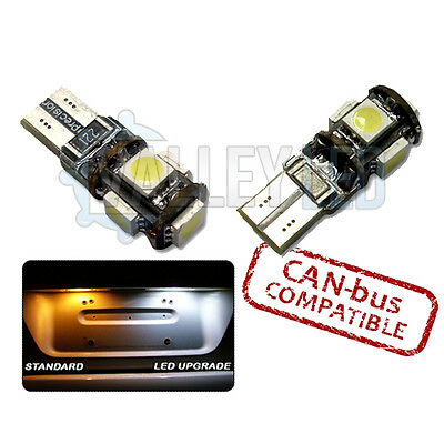 X2 CANBUS 5 LED NUMBER PLATE XENON WHITE BULBS HONDA CIVIC TYPE R 98-05 501 T10