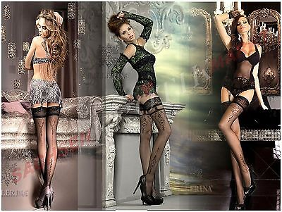Edle Halterlose Strümpfe BALLERINA Spitze Muster Nylons Luxus Stockings Dessous