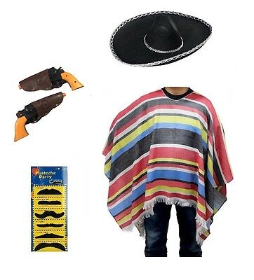 Adult Mexican Poncho Sombrero Costume Set Spanish Fiesta Bandit Fancy Dress