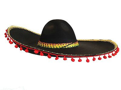 Black Mexican Sombrero with Red Pom Poms Spanish Fiesta Salsa Costume Party