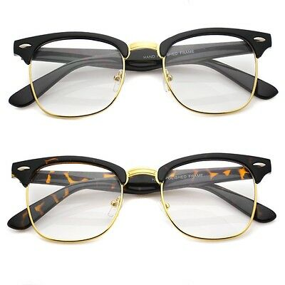 Black Gold Vintage Inspired 80s Clubmaster Clear Lens Hipster Nerd Glasses